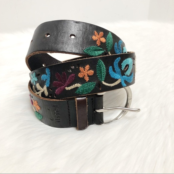 Fossil Accessories - Fossil Floral Embroidered Leather Belt